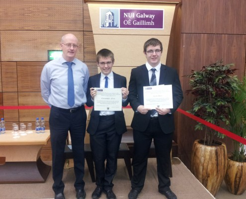 St. Mary's College Principal Mr. Ciaran Murphy along with NUIG Scholarship winners Christopher Finn and Keith Daly