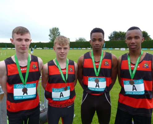 Shane Traynor-Canavan, Ryan Traynor O'Toole, Kelvin Samson and Selassie Seshi-Doe with their National Bronze medals in the 4 x 100m relay.